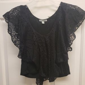 Charlotte Russe Black Layered Crop Top